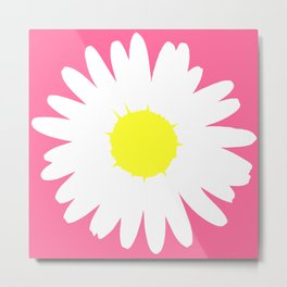 Pink Daisy (Yellow) Metal Print