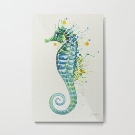 Seahorse: Green Natural Metal Print