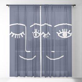 Wink (Navy) Sheer Curtain