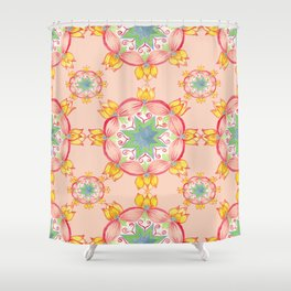 Yellow lotus Mandala Peach background Shower Curtain