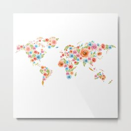 Watercolor Flower World Metal Print