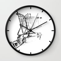 shopping Wall Clocks featuring Shopping Cart by Brontosaurus