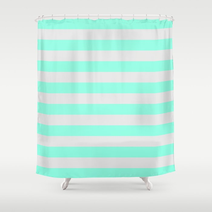 Mint Green Gray Stripes Shower Curtain