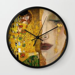 Gustav Klimt portrait The Kiss & The Golden Tears (Freya's Tears) No. 1 Wall Clock