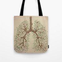 breathe Tote Bags featuring Breathe! by Marcelo Jiménez