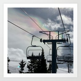 4 Seat Chair Lift Rainbow Sky \\ The Mountain Sun Rays \\ Spring Skiing Colorado Winter Snow Sports Art Print