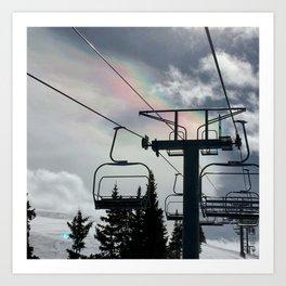 Ski Lift Rainbow Sky \\ The Mountain Sun Rays \\ Spring Skiing Colorado Winter Snow Sports Art Print