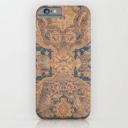 Persian Motif I // 17th Century Ornate Rose Gold Silver Royal Blue Yellow Flowery Accent Rug Pattern iPhone Case
