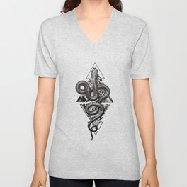 Snake Marbling and Triangles Unisex V-Neck