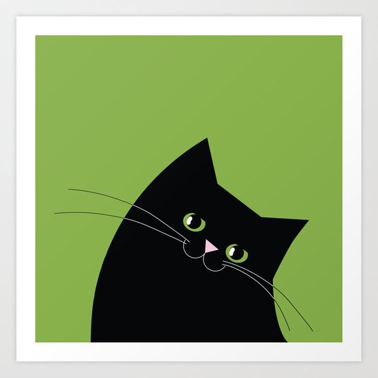Black Cat and Color of the Year 2017, Greenery Art Print