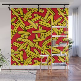 French Fries on Red Wall Mural