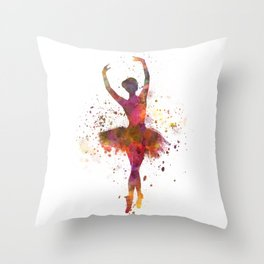 Woman ballerina ballet dancer dancing Throw Pillow