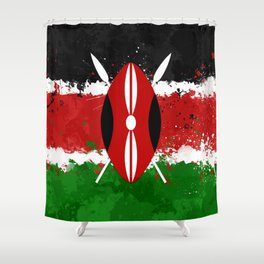 Kenya Flag - Messy Action Painting Shower Curtain