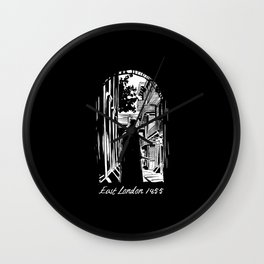 Jack the ripper east london 1855 black and white Wall Clock