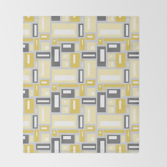 Simple Geometric Pattern in Yellow and Gray by fischerfinearts