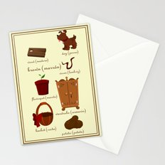 Colors: brown (Los colores: marrón) Stationery Cards