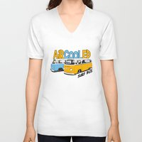 vw bus V-neck T-shirts featuring VW Camper Van Surf Bus by VelocityGallery