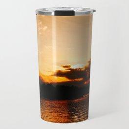 Foys Lake Montana at Sunset, Water Reflection, Neutral Colors Travel Mug