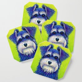 Colorful Miniature Schnauzer Dog Pet Portrait Coaster