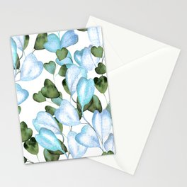 Lyrical Leaves Pattern In Pastel Teal, Aqua & Textured Green Stationery Cards