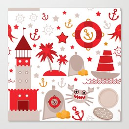 pattern with sea icons on white background. Seamless pattern. Red and gray Canvas Print