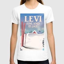 Levi, Finland ski vintage style travel poster. T-shirt
