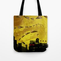 airplanes Tote Bags featuring airplanes and cigarettes by Trevor Bittinger
