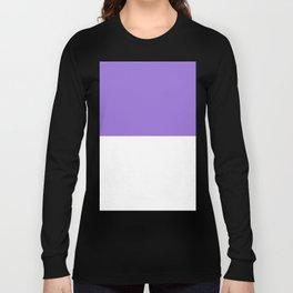 White and Dark Pastel Purple Horizontal Halves Long Sleeve T-shirt