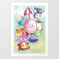 kirby Art Prints featuring Kirby by Josh Filhol Illustration