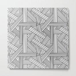 Sketchy Abstract (Grey & White Pattern) Metal Print
