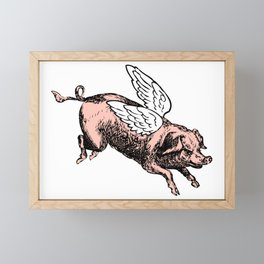 Pig with Wings | Flying Pig | When Pigs Fly | Pigs with Wings | Vintage Pig |  Framed Mini Art Print