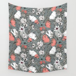 Seamless pattern design with hand drawn flowers and floral elements Wall Tapestry
