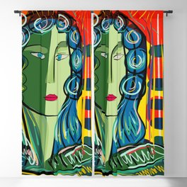 Portrait of a Green Girl Expressionist Art Blackout Curtain