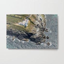 Arial views over Trevose Lighthouse, Cornwall Metal Print