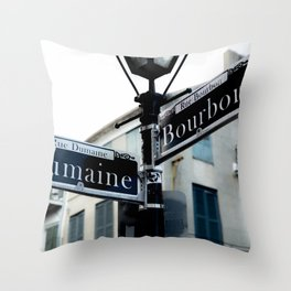 Dumaine and Bourbon - Street Sign in New Orleans French Quarter Throw Pillow
