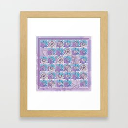 Broken tile 2. Mandalas in blue and purple. Framed Art Print