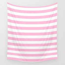 Narrow Horizontal Stripes - White and Cotton Candy Pink Wall Tapestry