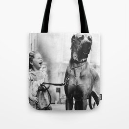 The Happiness of Little Girls and Great Danes black and white photograph Tote Bag