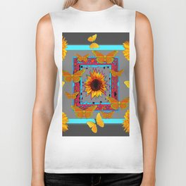 TURQUOISE SOUTHWEST ART YELLOW  BUTTERFLIES FLOWERS Biker Tank