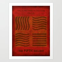 fifth element Art Prints featuring Fire Burns - Fifth Element by MK MARS