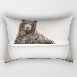 Bear in a Vintage Bathtub (c) Rectangular Pillow