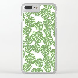 Monstera leaf tropical pattern minimal botanical design by andrea lauren Clear iPhone Case