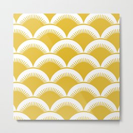 Japanese Fan Pattern Mustard Yellow Metal Print