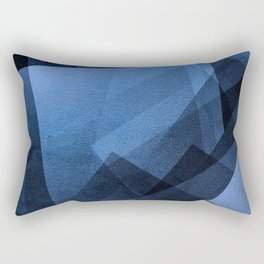 Cobalt Cubes - Digital Geometric Texture Rectangular Pillow