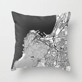 Cape Town Map Gray Throw Pillow