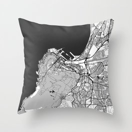 Cape Town Map Gray Throw Pillow