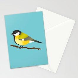 Cute Little Yellow Bird Parus Major Cartoon Illustration On Blue Stationery Cards
