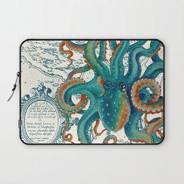 Teal Octopus Vintage Map Watercolor Laptop Sleeve