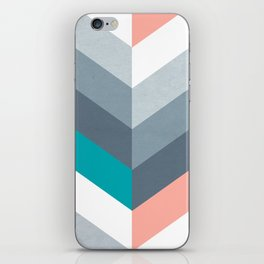 Vertical Chevron Pattern - Teal, Coral and Dusty Blues #geometry #minimalart #society6 iPhone Skin