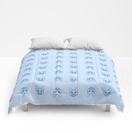 Cute cats pattern in pale blue Comforters